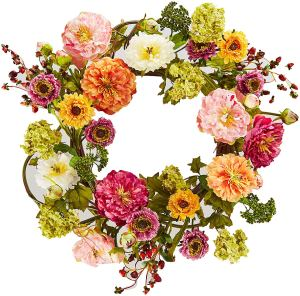 Nearly Natural Peony Wreath
