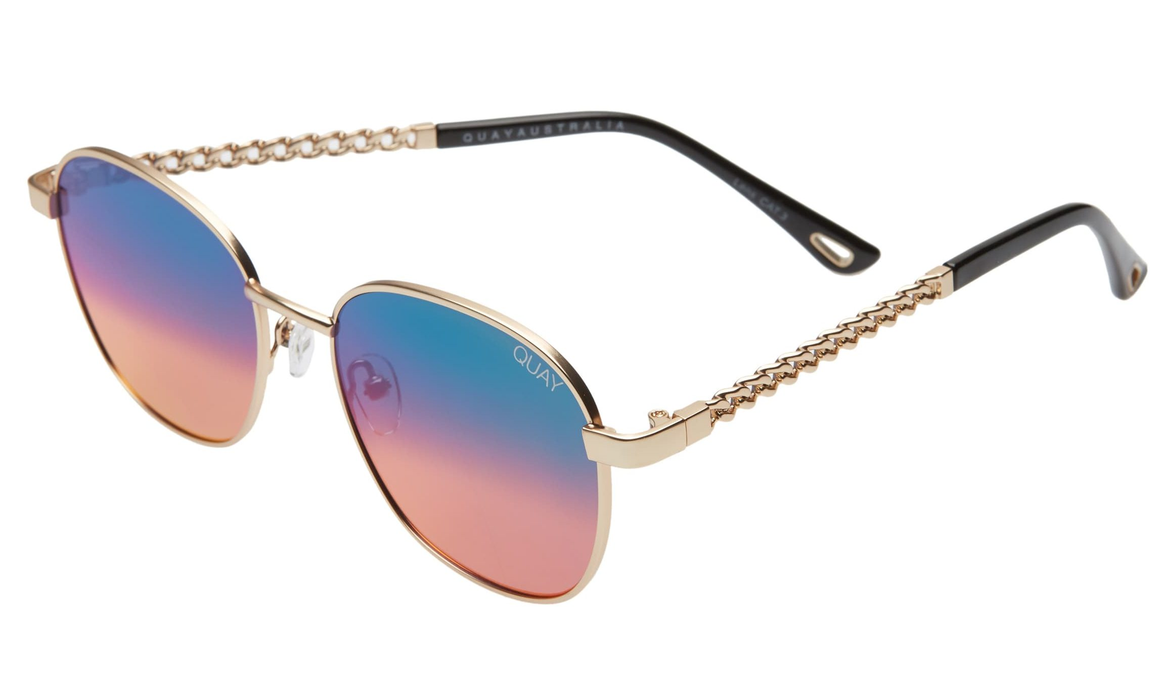 Quay Australia Link Up Round Sunglasses with Chain Strap - Best Gifts Under $100