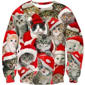 RAISEVERN Cat Christmas Sweater