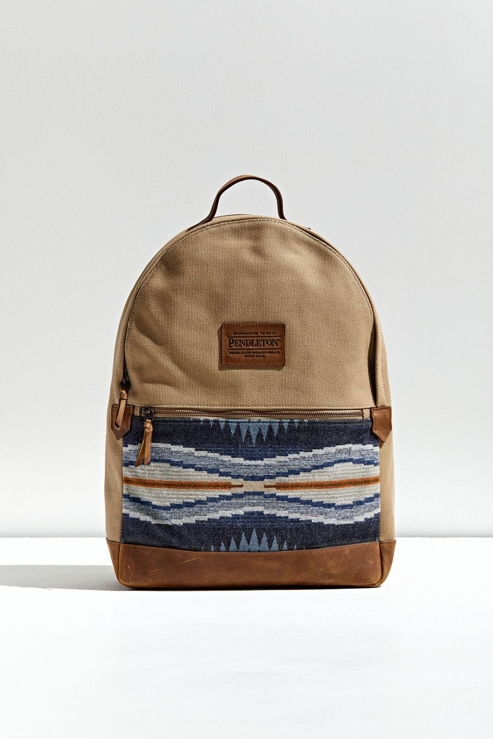 Pendleton Tan Backpack with Blue Accent