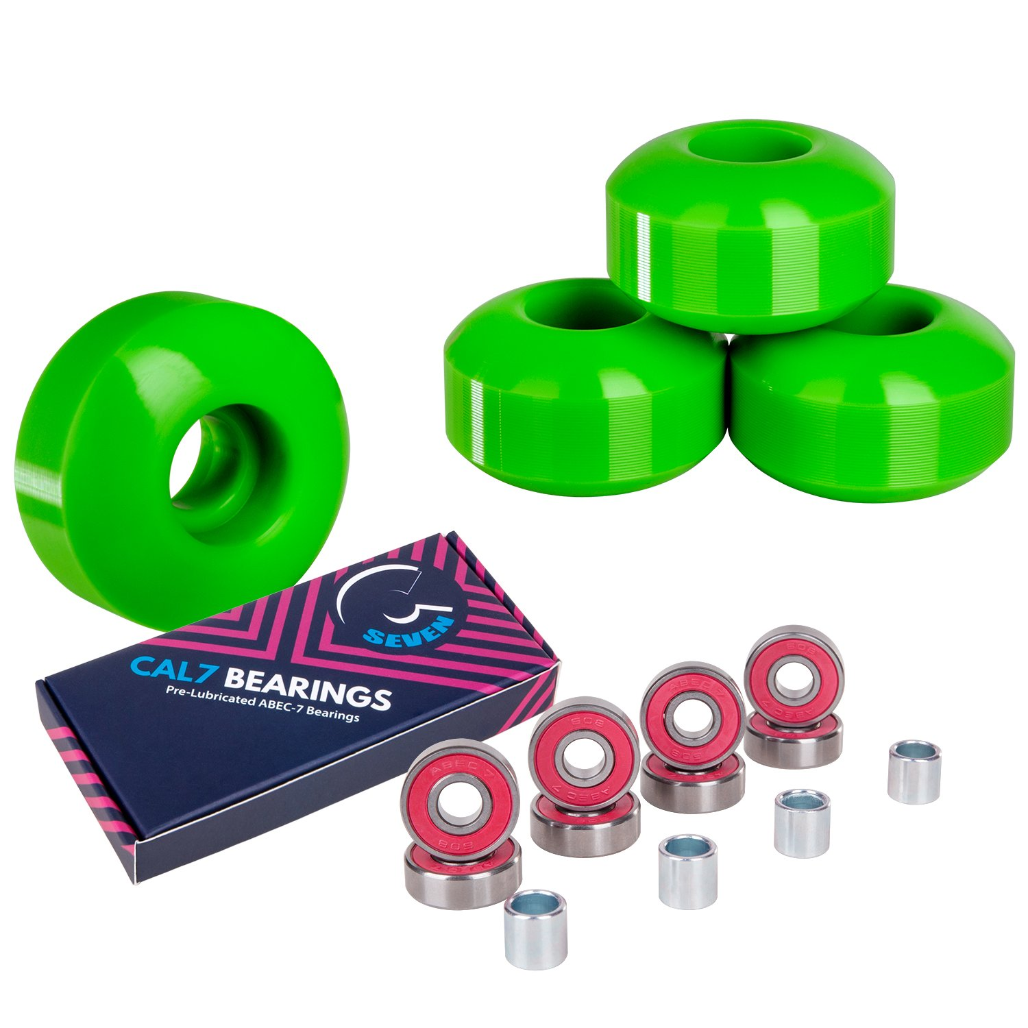 green skateboard wheels bearings