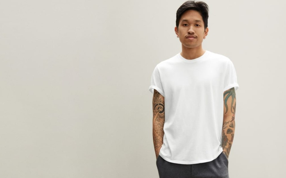 Man wears Everlane Cotton T-Shirt in