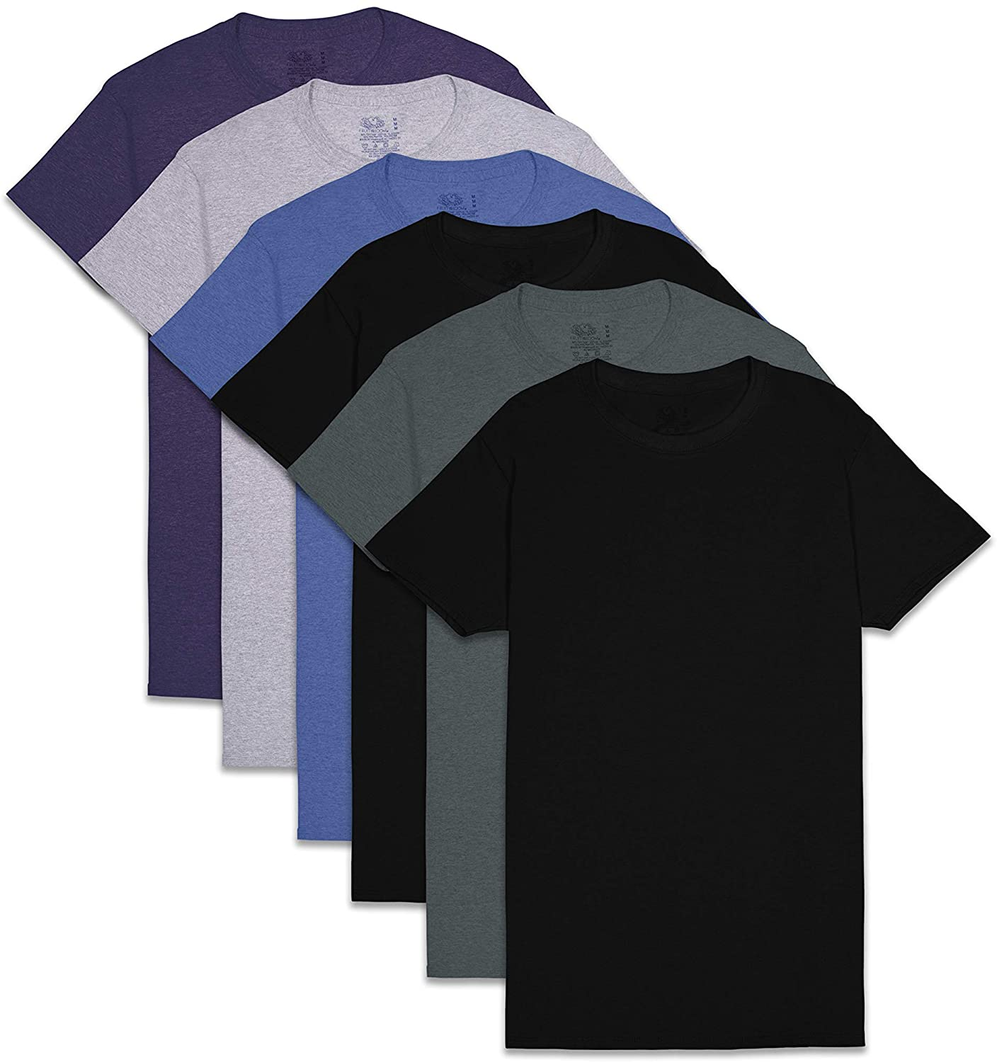 Fruit of the Loom Men's Stay Tucked Crew T-Shirt variety pack; best undershirts for men