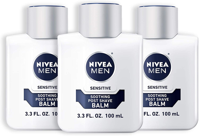 Nivea Men Sensitive Post-Shave Balm, three bottles; men's grooming products
