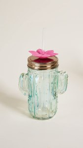 Slant Collections Cactus Shaped Glass Jar with Lid and Straw