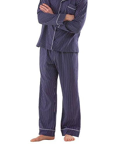 Man wears blue with stripes PajamaGram Cotton Pajama Set