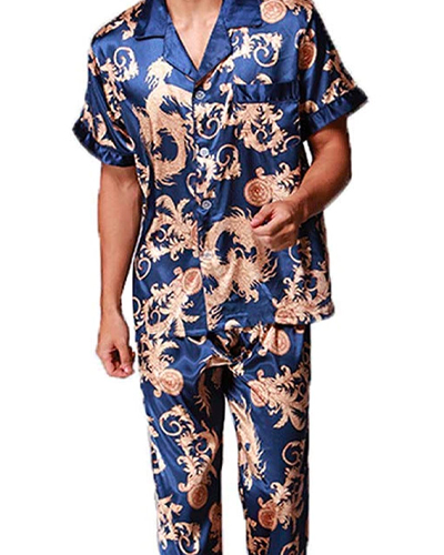 blue satin pajamas for men from Zuevi