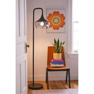 Urban Outfitters Smoked Glass Floor Lamp