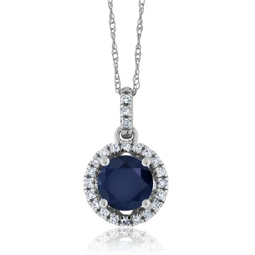 Gem Stone King Blue Sapphire and Diamond Pendant Necklace