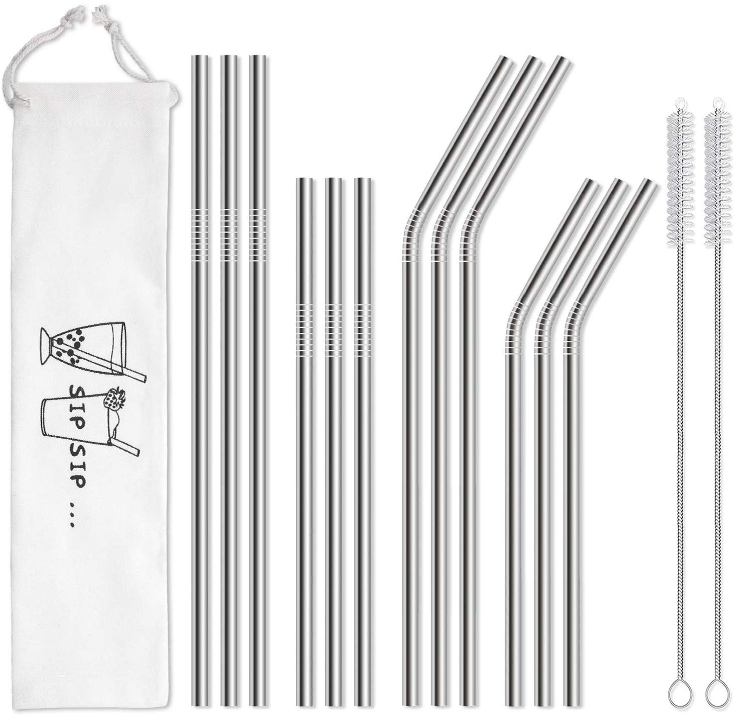 Hiware 12-Pack Reusable Stainless Steel Metal Straws