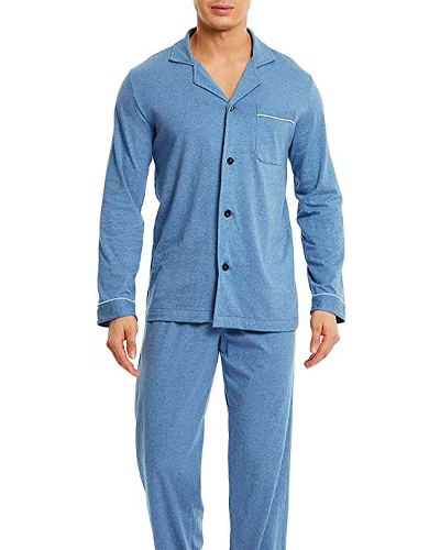 Man wears blue David Archy Button-Down Pajamas Set