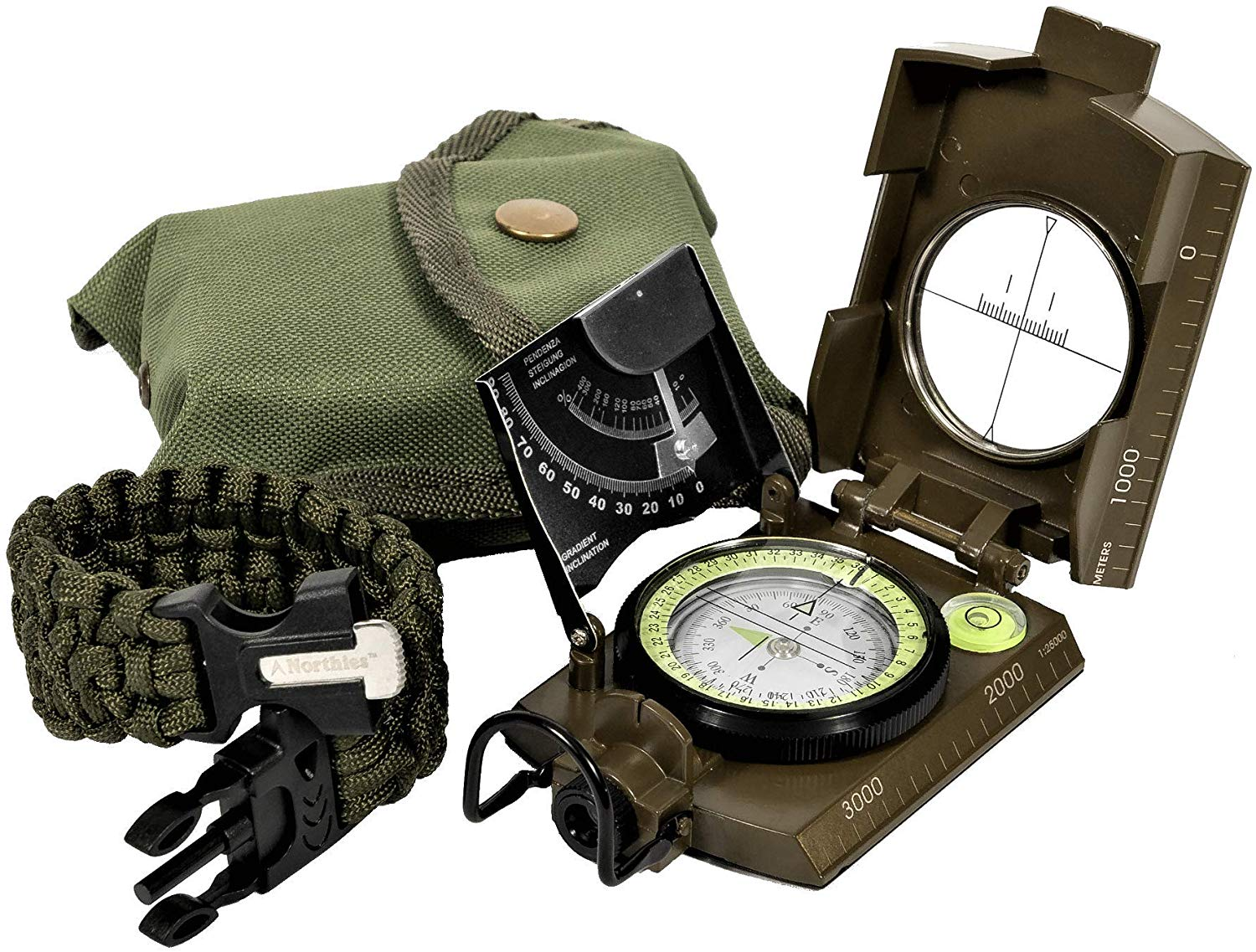 Northies Combo Pack Military Lensatic Sighting Compass and Paracord Survival Bracelet