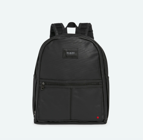state backpack in black coated canvas