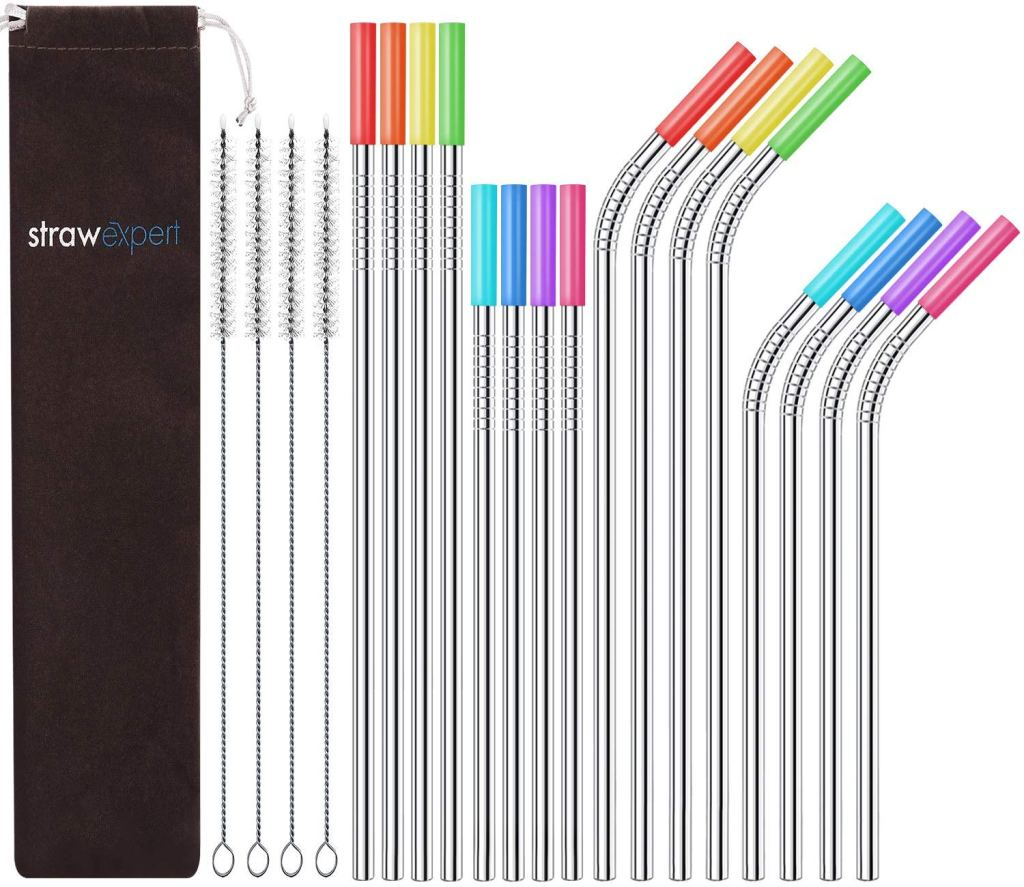 StrawExpert Set of 16 Reusable Stainless Steel Straws