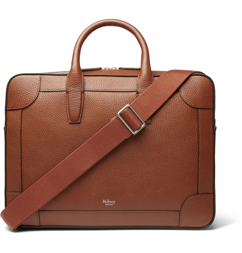 Light brown leather Mulberry briefcase