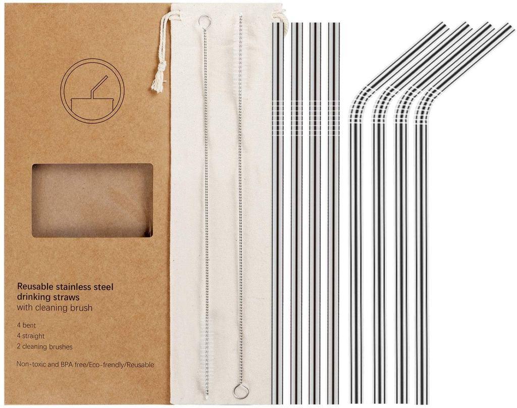 YIHONG Set of 8 Reusable Stainless Steel Metal Straws