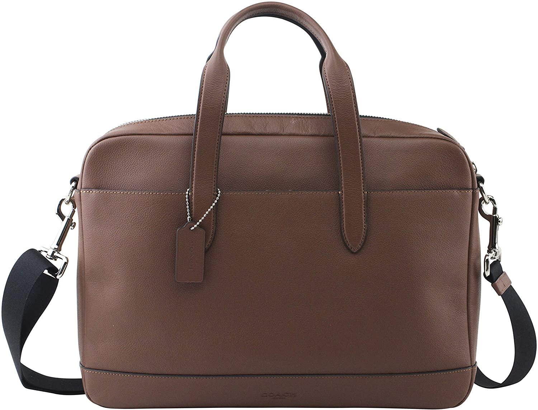 leather laptop bag coach black