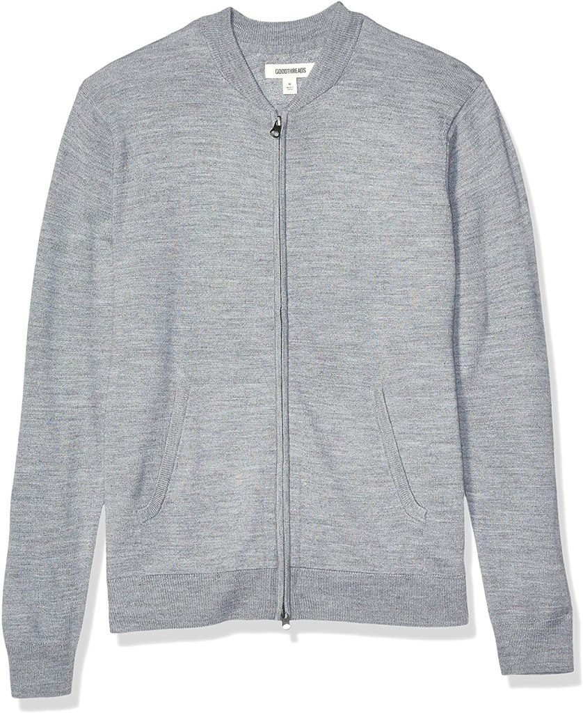 Goodthreads Men's Lightweight Merino Wool/Acrylic Bomber Sweater