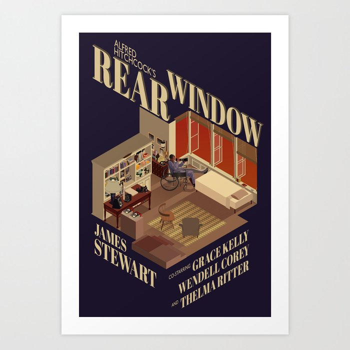 Rear Window Hitchcock tribute poster, birthday gifts for him
