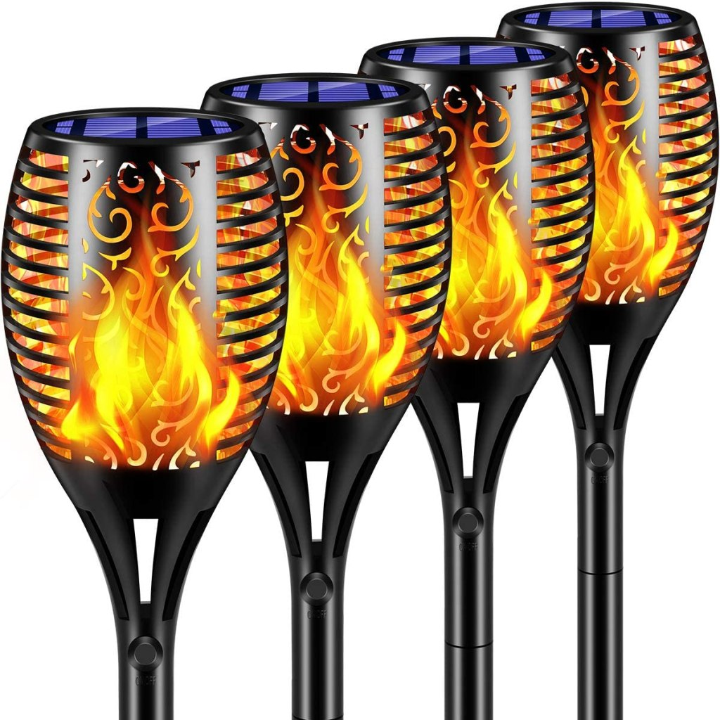 TomCare Solar Lights Flickering Flame Solar Torches