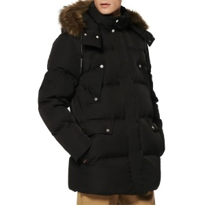 Marc New York Belmont Water Resistant Hooded Down & Feather Fill Coat with Faux Fur Trim