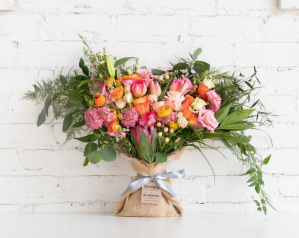 flower delivery online big love burlap wrapped bouquet farmgirl flowers