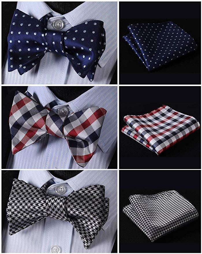 Hisdern Men's Self-Tie Bow Tie & Pocket Square Set