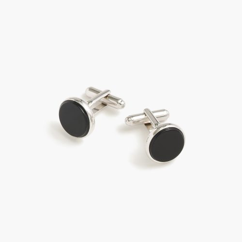 J. Crew Black Onyx Sterling Silver Rounded Cufflinks