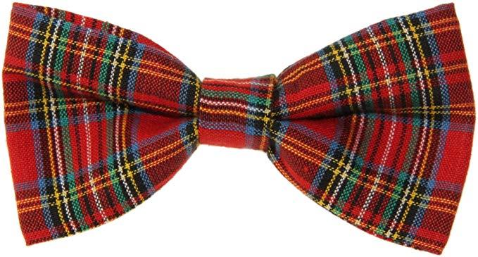 Men's Red Tartan Plaid Clip On Cotton Bow Tie