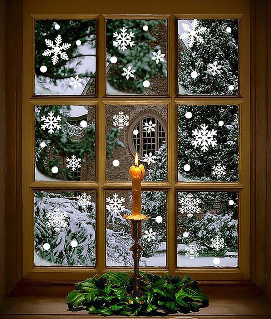 moon boat snowflake window clings
