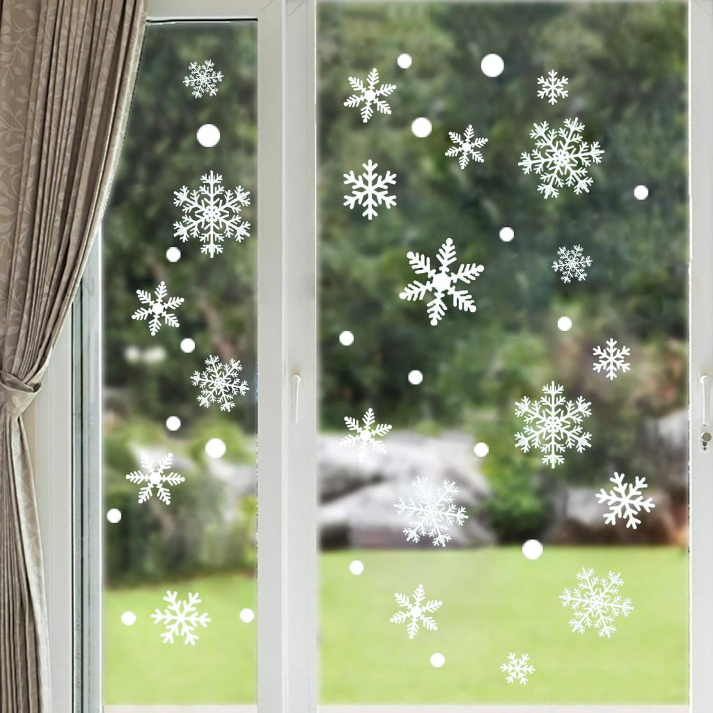 Moon Boat Snowflakes Window Decals