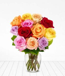 flower delivery online one dozen rainbow roses from you flowers