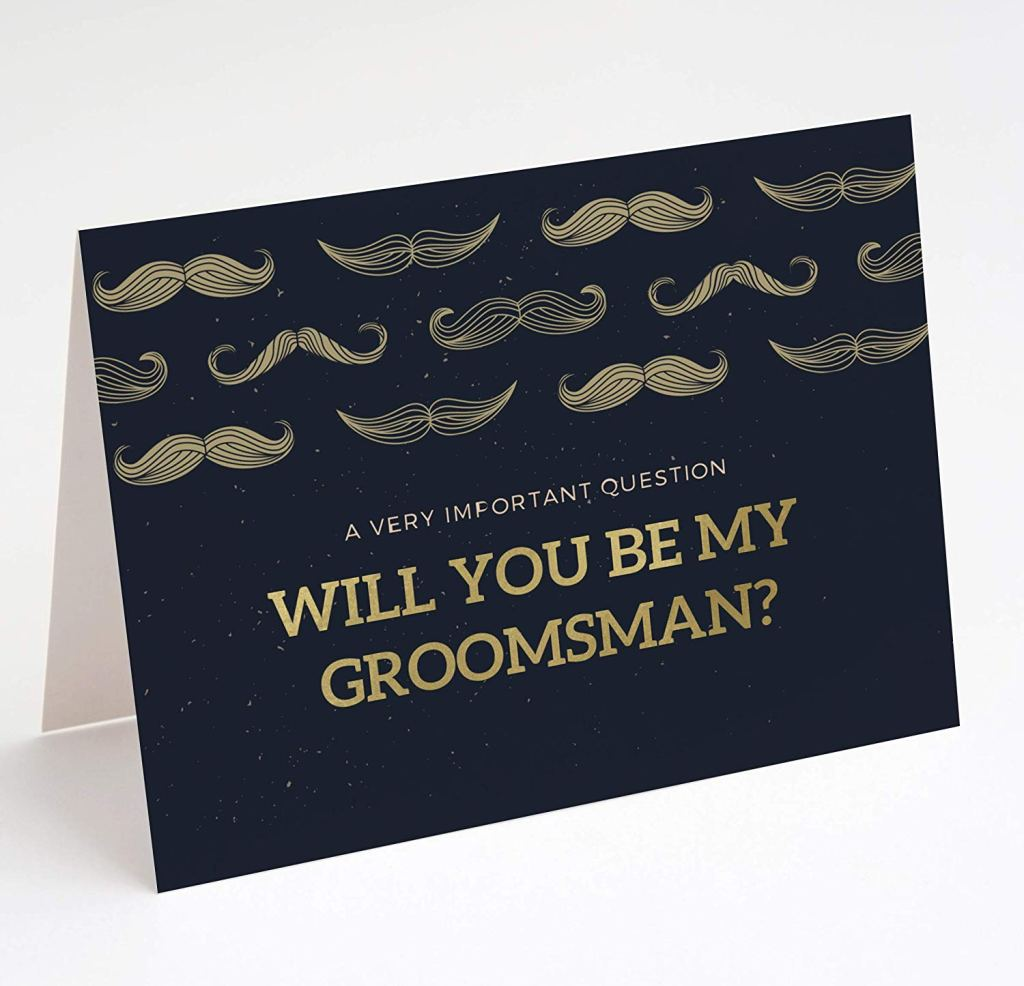 PaperGala Groomsmen Mustache You a Question Proposal Cards