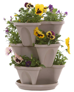 Stone Color Stackable Plant Trays