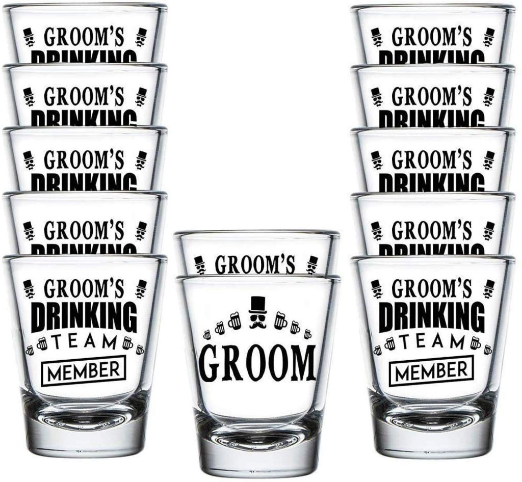 Shop4Ever Groom and Groom's Drinking Team Member Shot Glasses
