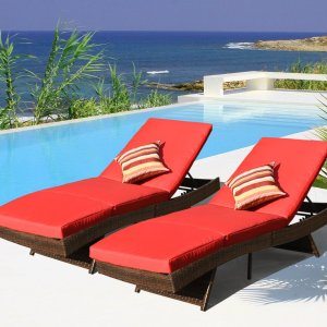 Sundale Outdoor Wicker Chaise Lounger