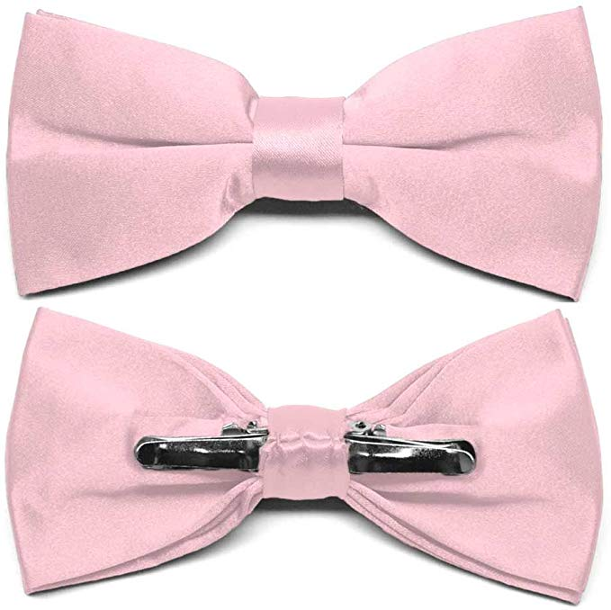 TieMart Carnation Pink Clip-On Bow Tie