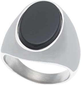James Dean Men's Oval Onyx Signet Ring