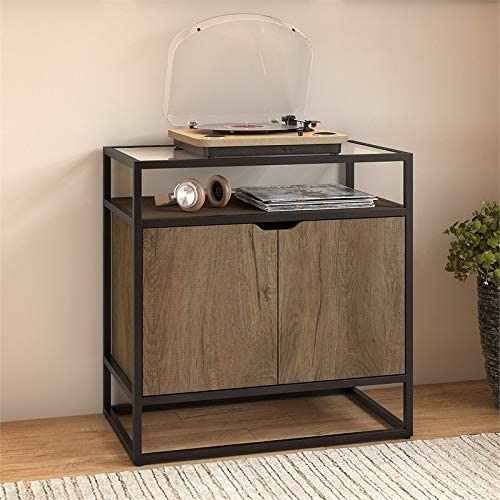Vinyl Record Player Stand with Glass Top