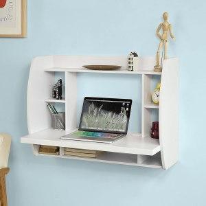 Haotian FWT18-W, White Drop-Leaf Table Desk