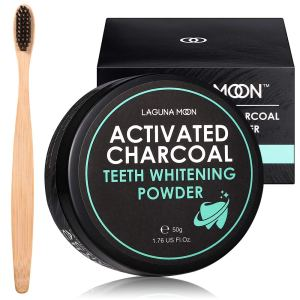 Activated Charcoal Natural Teeth Whitening Powder with Bamboo Brush by Lagunamoon