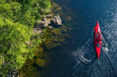 River Kayaker Aerial View