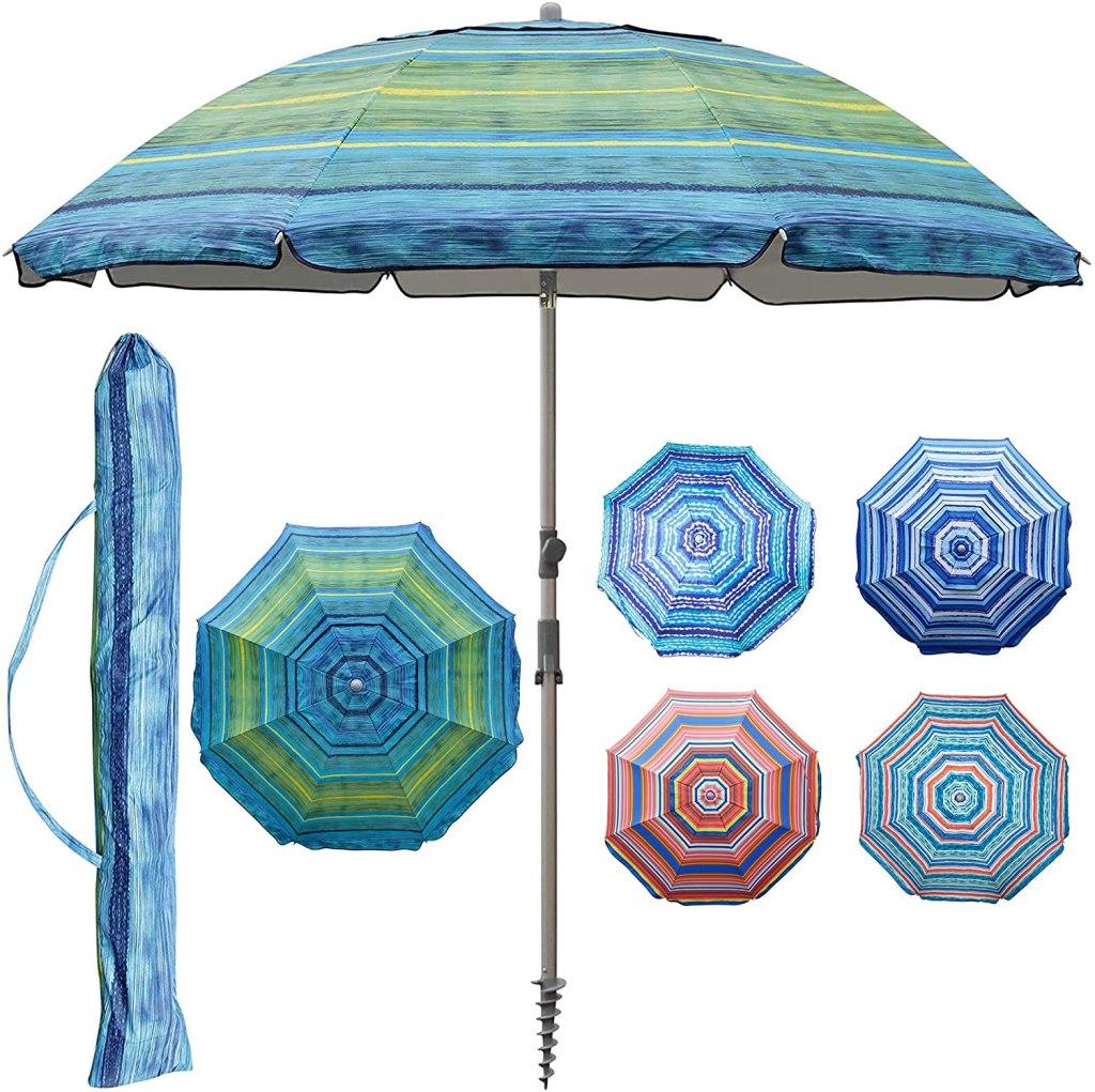 Blissun 7.2' Portable Beach Umbrella with Sand Anchor