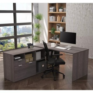 Bestar I3 Plus L Desk with Two Drawers, best home office decks overall