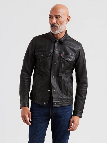 Levi black leather trucker jacket