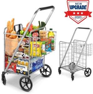 winkeep Jumbo Double Basket Grocery Cart