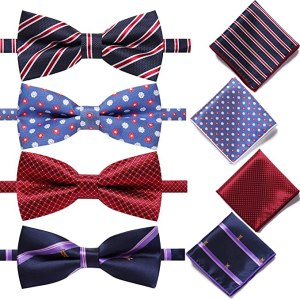 AUSKY Elegant Adjustable Pre-Tied Bow And Tie Pocket Square Sets
