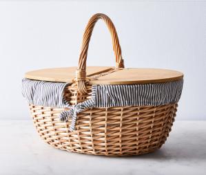best picnic baskets blue white stripe