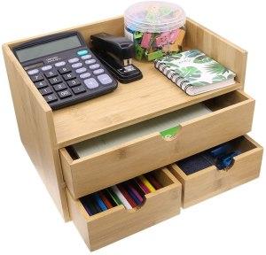 Coideal bamboo desk organizer, best desk organizer, best desk shelves