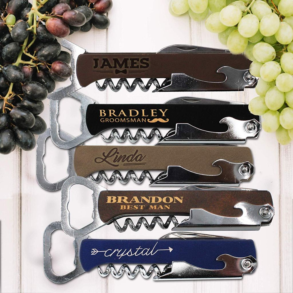 Custom Engraved Wood Wine Corkscrew Opener and Multi-Tool